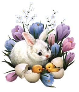 Кролик з підсніжниками схема для вишивання