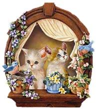 Котики у вікні схема для вишивання