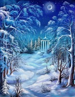 Зимовий вечір схема для вишивання