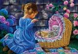 Дівчинка з котиками схема для вишивання