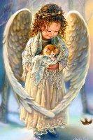 Ангелик з котиком схема для вишивання
