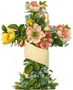 Хрест з квітами схема для вишивання
