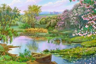 Озеро весною схема для вишивання