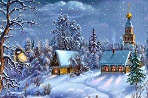 Зимовий пейзаж схема для вишивання