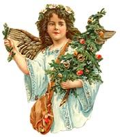 Ангел з різдвяними подарунками схема для вишивання