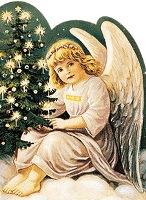 Ангел з ялинкою схема для вишивання