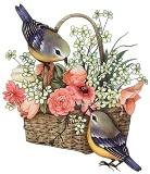 Пташки з кошиком квітів схема для вишивання