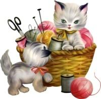 Котики з нитками схема для вишивання
