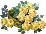 Кошик з жовтими розами схема для вишивання