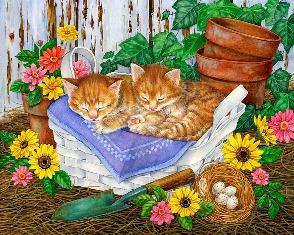 Котики сплять схема для вишивання