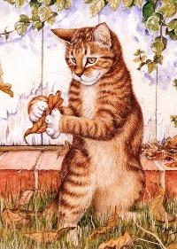 Котик з листям схема для вишивання