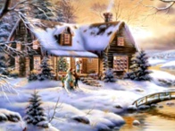 Зимова хатина схема для вишивання