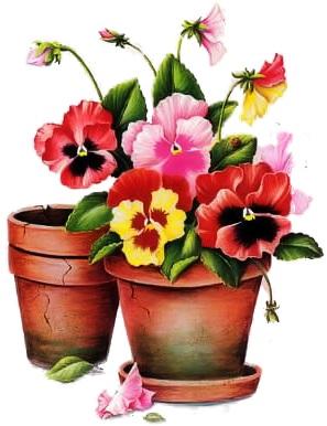 Вазони з квітами схема для вишивання