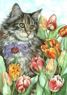 Котик з тюльпанами схема для вишивання