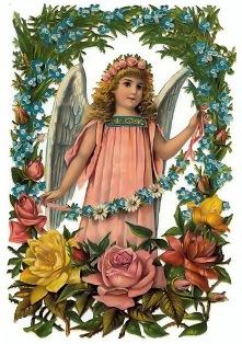 Ангел з квітами схема для вишивання