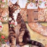 Котик з квітами схема для вишивання