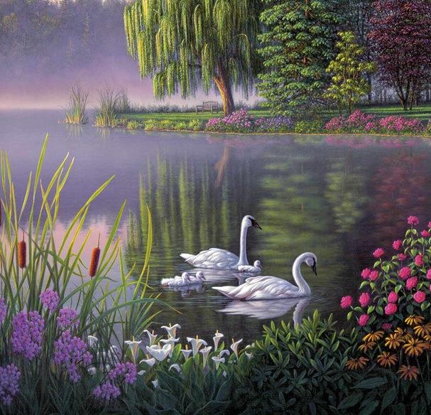 Лебеді на озері схема для вишивання
