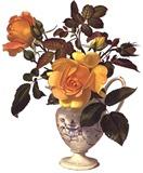Жовті троянди у вазі схема для вишивання