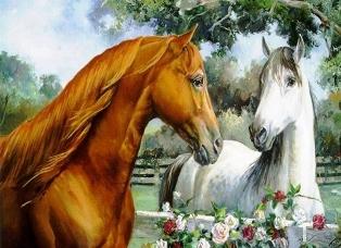Пара коней схема для вишивання