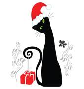 Киця з новорічним подарунком схема для вишивання