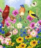 Птахи з квітами схема для вишивання