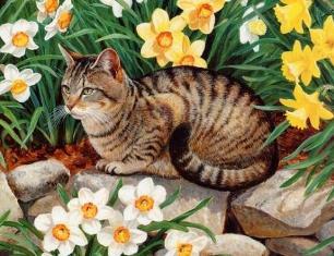 Котик в нарцисах схема для вишивання