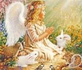 Ангелятко і звірі схема для вишивання