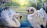 Красиві лебеді схема для вишивання