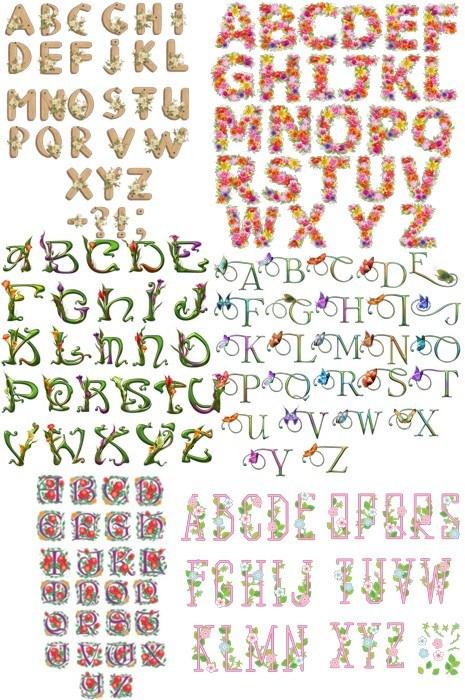 Латинські букви з квітами