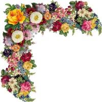 Кутик з квітами схема для вишивання