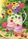 Тістечка з квітами схема для вишивання