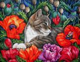 Котик з маками схема для вишивання