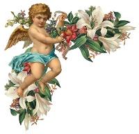 Ангелик з ліліями схема для вишивання