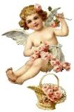 Ангел з кошиком квітів схема для вишивання