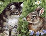 Котик і кролик схема для вишивання