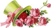 Капелюх з розами схема для вишивання