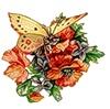 Метелик з маками схема для вишивання