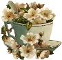 Горнятко з білими квітами схема для вишивання