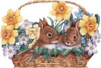 Кролики в кошику схема для вишивання