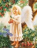 Ангелятко з метеликами схема для вишивання