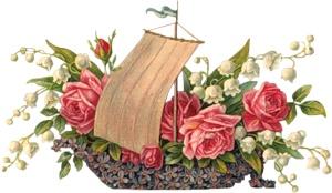 Човник з квітами схема для вишивання