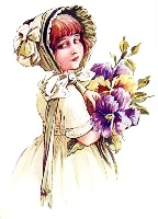 Дівчинка з букетом схема для вишивання
